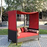 Providence Outdoor Uv Protected Day Bed with Canopy, Red, Creates a Wonderful Space for You to Relax While Enjoying Outside, Ideal for Day and Night