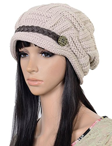 Winter Beret (ELACUCOS Women Winter Beanie Cabled Checker Pattern Knit Hat Button Strap Cap Beige)