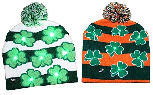Gilbin ST. Patricks Day Irish Light Up Beanie Skull Cap With Shamrocks (2 Pack)