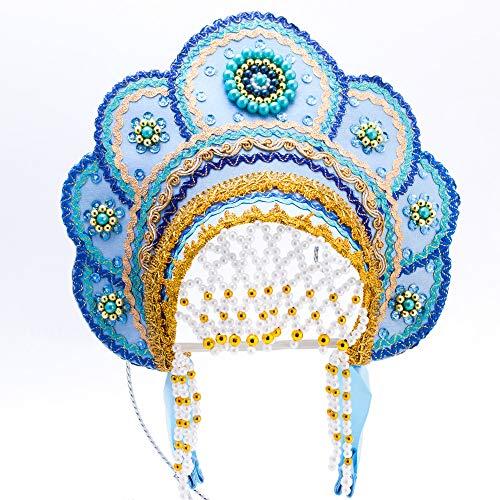 Elena Kokoshnik Headdress (light blue &