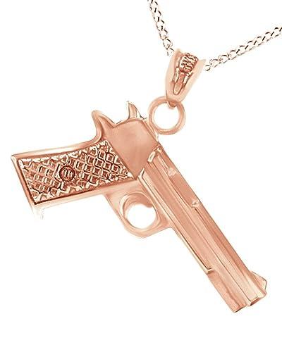 Amazon affy eagle pistol gun pendant necklace in 14k rose gold amazon affy eagle pistol gun pendant necklace in 14k rose gold over sterling silver jewelry mozeypictures Images