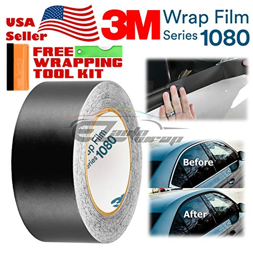 EZAUTOWRAP Free Tool Kit 3M 1080 Satin Black Vinyl Wrap Kit for Black Out Chrome Delete Window Trim Door Trim 2