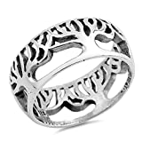 Eternity Tree of Life Cutout Ring .925 Sterling Silver Filigree Band Sizes 6-10