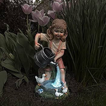 Yard Décor, Solar Outdoor LED Light and Battery Operated Statue for Garden, Patio, Lawn, and Yard by Pure Garden – Little Girl Statue