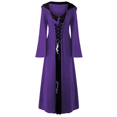 Women Christmas Elk Hooded Sweatshirt Dress Lace Up Patchwork Long Sleeve Long Dress Cloak Robe S-5XL: Clothing