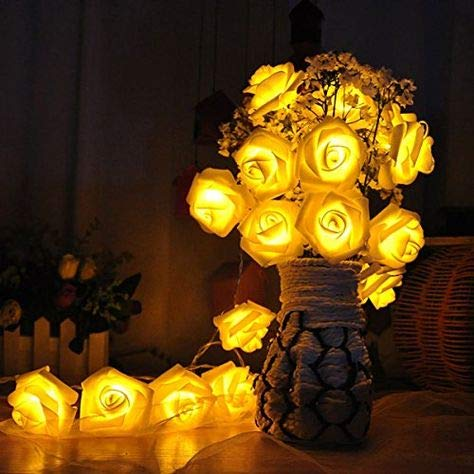 Avanti 20 Led Battery Operated String Romantic Flower Rose Fairy Light Lamp Outdoor for Valentines Day, Wedding, Room, Garden, Christmass, Patio, Festival Party Decor (Yellow)