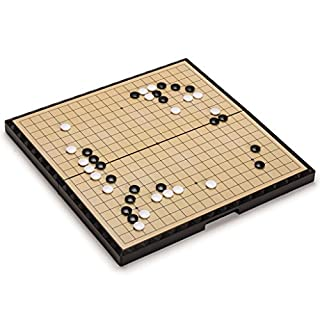 Yellow Mountain Imports Large Magnetic 19x19 Go Game Set Board (14.7-Inch) with Single Convex Stones - Portable and Travel Ready Set