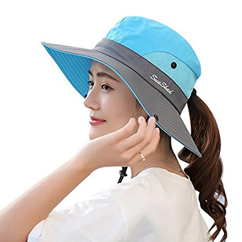 (Premium Womens Summer Wide Brim Sun Hat UV Protection Foldable Mesh Caps UPF 50+ Beach Hat Adjustable Fishing Cap (Sky Blue))
