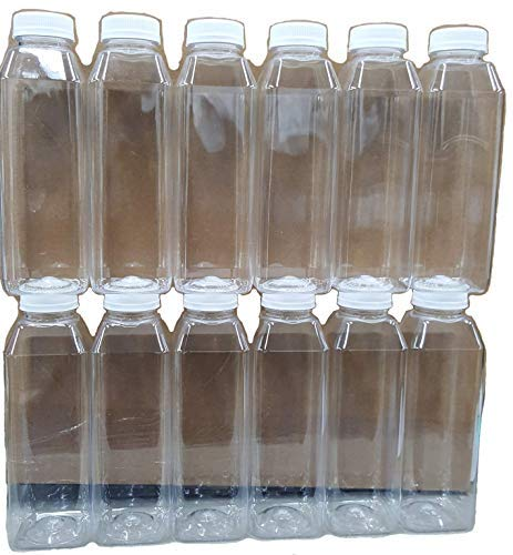 12 Pack of 16 Oz Plastic Bottles, Clear PET Square Beverage Bottles w/ White Tamper Evident Caps