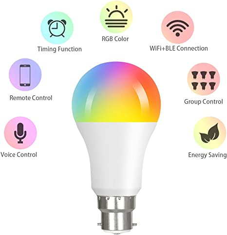 Vicloon Bombilla LED Inteligente E27 L/ámpara WiFi Funciona con Alexa Google Home Regulable Blanco C/álido a Fr/íocon Equivalente a 90W Cambio Bombilla 2700K-6500K 2 Pc E27 LED 10W Wi-Fi Bombilla