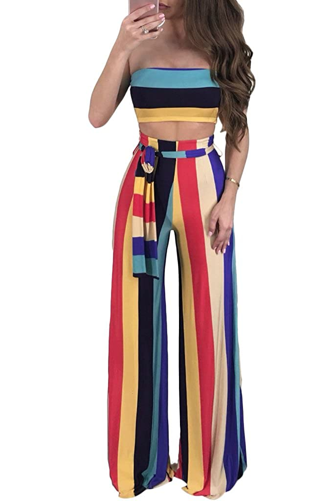YIhujiuben Women Vintage Short Sleeve 2 Piece Outfits O Neck Crop Top Wide Leg Long Pants