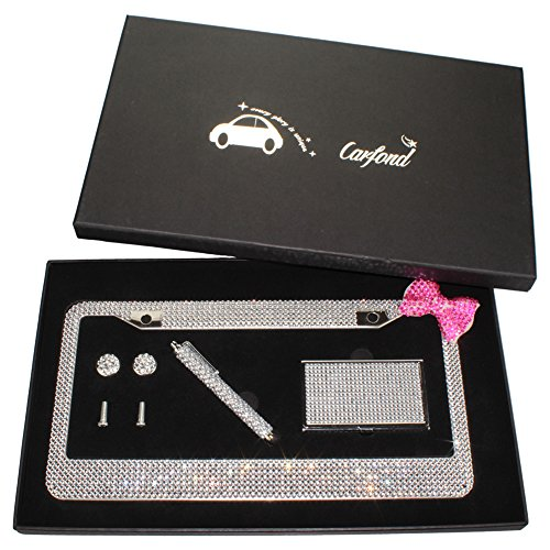 Carfond 7 Row Pure Handmade Waterproof Bling Bling Rhinestones Stainless Steel Metal License Plate Frame with Bling Business Card Holder Bling Stylus pen(Silver-pink bowknot Gift Set)