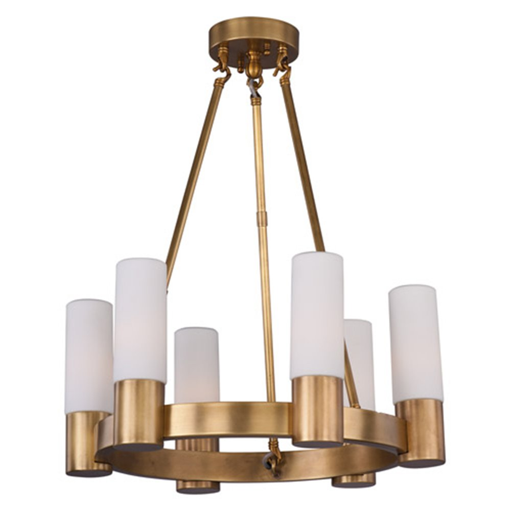 Maxim Lighting 22416SWNAB Six Light Up Chandelier, Natural Aged Brass