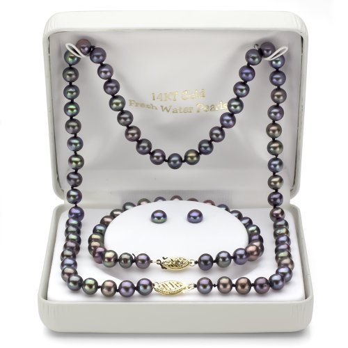 14k Yellow Gold 6-6.5mm Dyed-black Freshwater Cultured Pearl Necklace, Bracelet and Stud Earrings by La Regis Jewelry (Image #1)