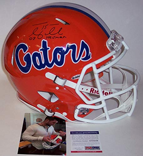 Tim Tebow Autographed Hand Signed Florida Gators Speed Full Size Authentic Pro Football Helmet - with 07 Heisman Inscriptions - PSA/DNA