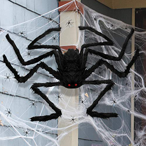 3 otters Halloween Hairy Spiders Set, 49inch Halloween Spider for Halloween Outside Decorations, with 50PCS Little Spiders