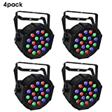 Stage Lights 4 pack, 18w 18 LEDs RGB Par Lights by DMX512 Sound Activated 7 Control Uplighting for Wedding Church DJ Party Live Show Stage Wash Light