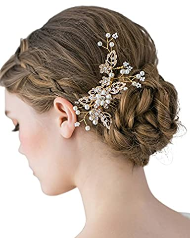 SWEETV Handmade Wedding Hair Comb Clip Pearl Hairpin Rhinestone Combs Bridal Hair Accessories, Gold (Hair Pin Gold)