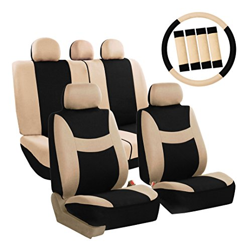 (FH Group FB030BEIGEBLACK115-COMBO Seat Cover Combo Set with Steering Wheel Cover and Seat Belt Pad (Airbag Compatible and Split Bench Beige/Black))