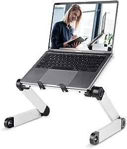 RAINBEAN Adjustable Laptop Stand Table for Office,Portable Lap Desk Stand Compatible Notebook Tablets MacBook,Foldable Lift Bracket Aluminum Ergonomics Design,Office or Home Desk Suitable for Ipad