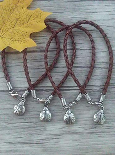 - Fashion Ancient Silver Ladybug Charm Braided Leather Bracelets and Anklets | for Women (50 Pcs)