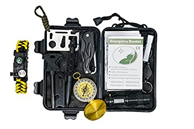Professional 10 in 1 Emergency Outdoor Survival Tool for Outdoor Travel Hike Field Camp by Qusoul