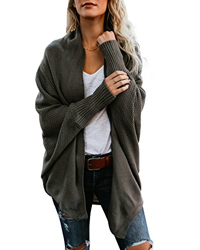 f331c3afc07 Ofenbuy Womens Cardigans Oversized Open Front Batwing Knit Cardigan Sweaters