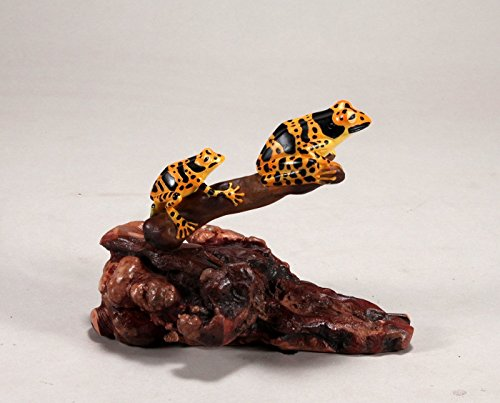 - Yellow and Black Tree Frog Duo Sculpture by John Perry Statue Airbrushed