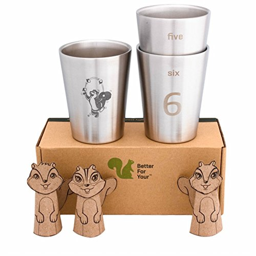 Curve Tumbler (Better For Your - Kids Toddler Stainless Steel Double Wall Tumbler Cups - Small, 8oz (250ml) - Set of 3 - Juggling Squirrel and Numbers 4-5-6)