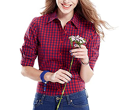 Tortor 1Bacha Women's Gingham Long Sleeve Button Down Plaid Shirt