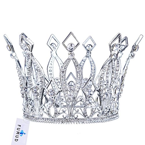 FUMUD Imperial Medieval 3.9inch Crowns Full Rould Gold/Silver Tiaras For Women Clear Crystal Pageant Party Costumes Diadem Hair Jewelry (Silver ) by FUMUD Jewelry