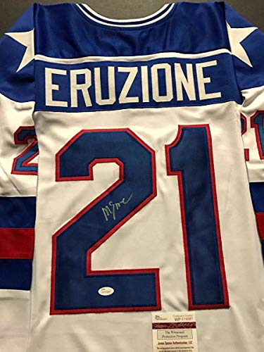 Autographed/Signed Mike Eruzione Team USA Miracle On Ice 1980 White Hockey Jersey JSA COA (Jersey Hockey Autographed 1980 Usa)