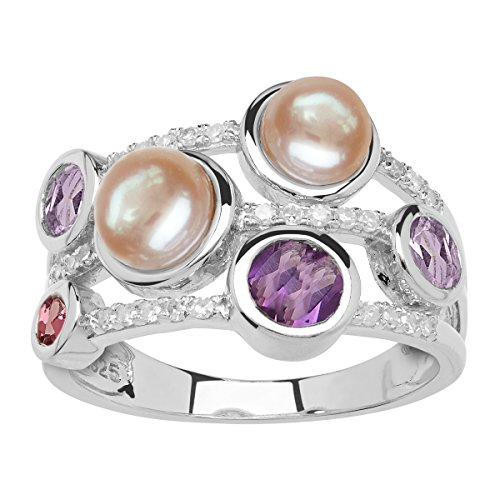 Pearl Tourmaline Ring (Freshwater Cultured Pearl, Amethyst, Tourmaline & 1/8 ct Diamond Banded Ring in Sterling Silver Size 7)