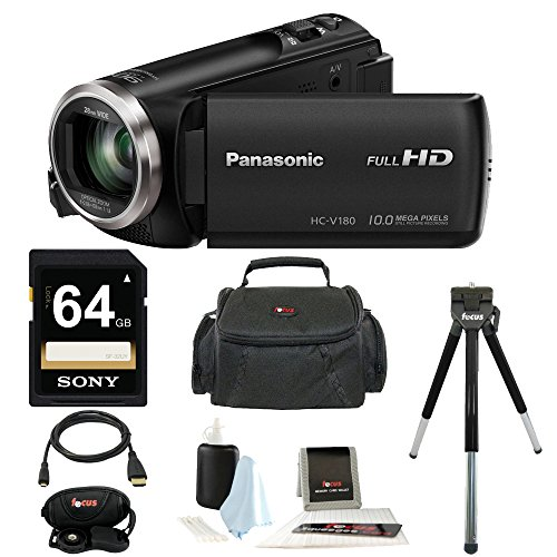 Panasonic HC-V180K Full HD 1080p Camcorder + Sony
