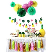 Summer Party Decoration Kit Paper Fans Tropical Party Flamingos and Pineapples Banners Tassel Garlands Hawaiian Luau Beach Supplies SUNBEAUTY 31 Piece