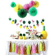 Tropical Party Decoration Kit Paper Fans Tropical Flamingos and Pineapples Banners Tassel Garlands Hawaiian Luau Beach Party Supplies 31 Pieces SUNBEAUTY