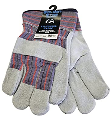 Golden Stag Leather Palm Split Cowhide Work Glove w/ Safety Cuff