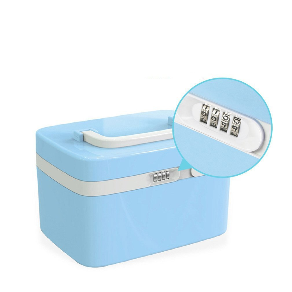Make Up Case Portable Lockable Waterproof Beauty Cosmetic Jewelry Organizer Vanity Storage Box 10L ABS ,Cyan