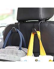 Amooca Car Hook, Seat Headrest Hook 2/4 Pack Hanger Storage Organizer, Universal Hanger Hook for for Handbag Purse Coat fit Universal Car Black/Beige