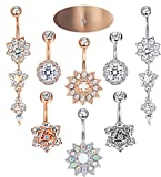 LOYALLOOK 8PCS 14G Stainless Steel Belly Button Rings for Women Girls Navel Rings Curved Barbell CZ Body Jewelry Piercing