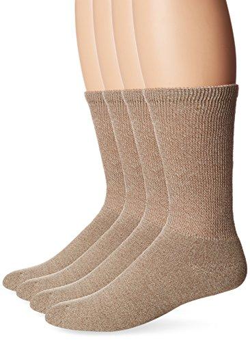 Doctor's Choice Men's Full Cushion Crew 4-Pack, Tan Marl, Sock Size: 10-13/Shoe (Tan Casual Socks)