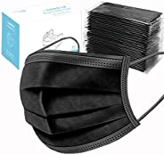 Anti Dust PM2.5 Face Masks,50 Pcs Elastic Earloop Breathable Dustproof Mask Black Breathing Dust Mask Mouth Cover Safety Mas