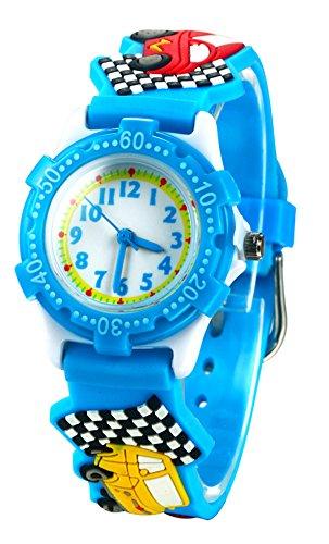 Vavna Best Seller Girls Boy Waterproof 3D Watch Cute Cartoon Digital Wrist watches Kids Children Christmas Gift (Blue Car)