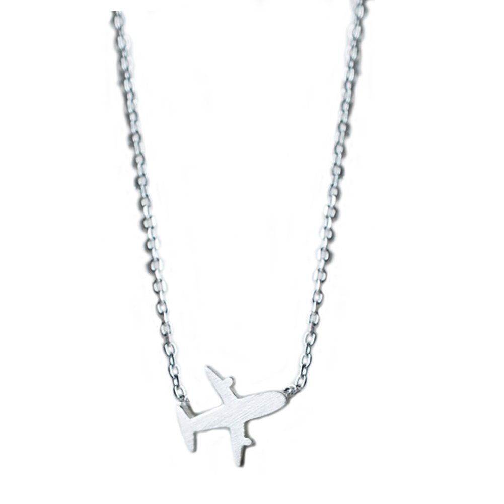 Helen de Lete Original Frosted Little Airplane 925 Sterling Silver Collar Necklace