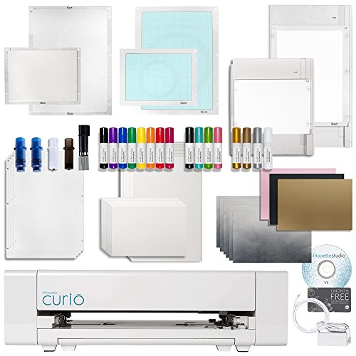 Silhouette Curio Crafting Machine with Lots of Accessories! Including Large 12 Inch By 8.5 Inch Base, Etching, Stippling, Sketching, Emboss, and More Bundle by Silhouette