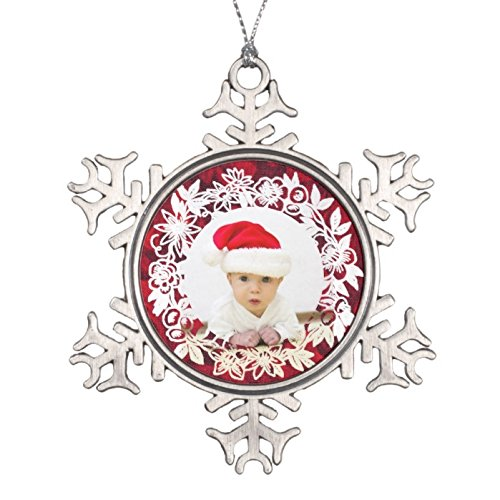 (Dukly Christmas Fancy White Lacework on Red with Photo Snowflake Pewter Christmas Ornament)