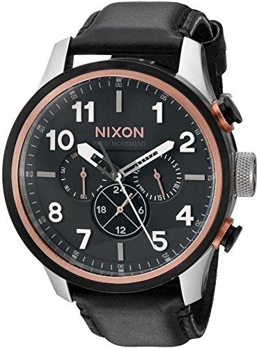 Nixon Men's Safari Dual Time Leather Stainless Steel Swiss-Quartz Watch with Calfskin Strap, Black, 23 (Model: A10822051-00)