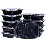 Glotoch 10-Pack 32 Ounce 2 Compartment Bento Lunch Boxes with Lids - Stackable, Reusable, Microwave, Dishwasher & Freezer Safe - Meal Prep, Portion Control, 21 Day Fix & Food Storage Containers