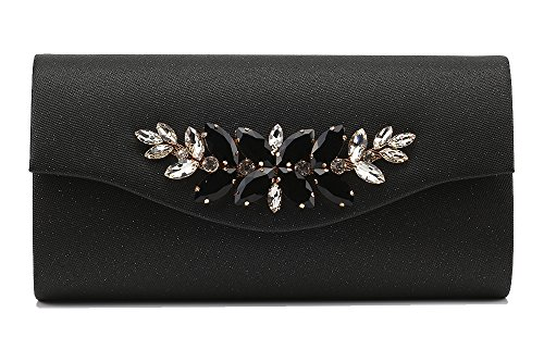 Marswooden Women Handbag Envelope Rhinestone Evening Bag Clutch Purse PU Leather 9.8