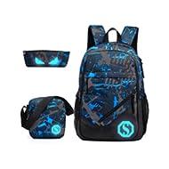 Boy 20L Fashion School Bag Backpack with Florescent Mark 3 Sets/2 Sets(ColorF 3 Sets,20L)